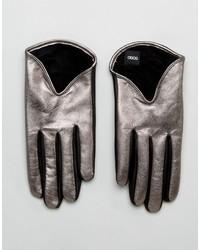 Женские серебряные кожаные перчатки от Asos