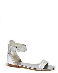 Серебряные кожаные сандалии на плоской подошве