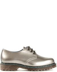 Серебряные кожаные туфли дерби