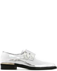Женские серебряные кожаные туфли дерби