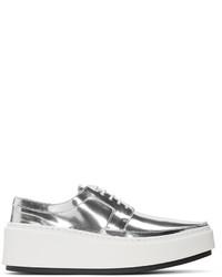 Женские серебряные кожаные туфли дерби от Kenzo