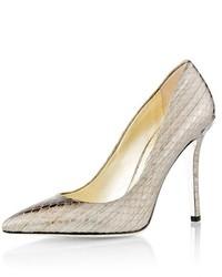 Женские серебряные кожаные туфли со змеиным рисунком от Celine
