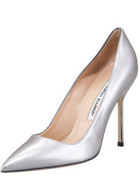 Серебряные кожаные туфли
