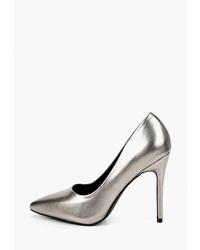 Серебряные кожаные туфли от Marco Bonne`