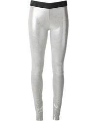 Серебряные кожаные узкие брюки