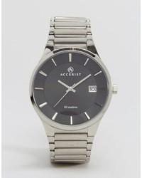 Серебряные кожаные часы