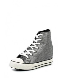 Серебряные кроссовки на танкетке от Mimoda