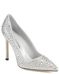 Серебряные туфли с пайетками с украшением