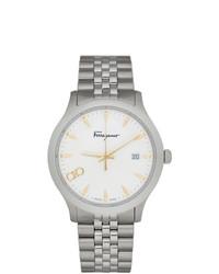 Мужские серебряные часы от Salvatore Ferragamo