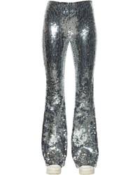 Серебряные широкие брюки с пайетками
