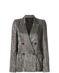 Женский серебряный двубортный пиджак от Isabel Marant