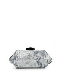 Серебряный кожаный клатч от Nano de la Rosa