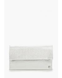Серебряный кожаный клатч от Olga Berg