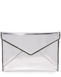 Серебряный кожаный клатч от Rebecca Minkoff