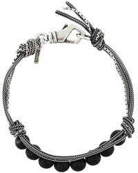 Мужской серебряный плетеный браслет из бисера от Emanuele Bicocchi