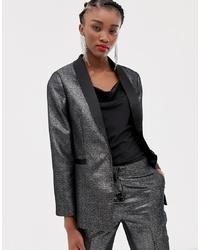 Женский серебряный сатиновый пиджак от New Look