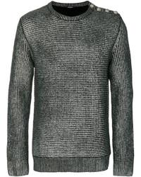 Мужской серебряный свитер с круглым вырезом от Balmain