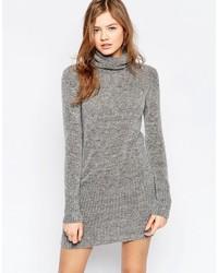 Женское серое вязаное платье-свитер от B.young