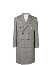 Серое длинное пальто в клетку от Calvin Klein 205W39nyc