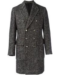 Серое длинное пальто в шотландскую клетку