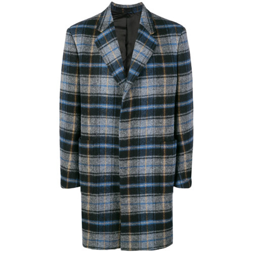 Серое длинное пальто в шотландскую клетку от Calvin Klein 205W39nyc