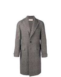 Серое длинное пальто в шотландскую клетку от Caruso