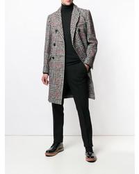 Серое длинное пальто в шотландскую клетку от Paul & Joe