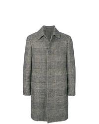 Серое длинное пальто в шотландскую клетку от Lardini
