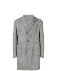 Серое длинное пальто в шотландскую клетку от Tagliatore