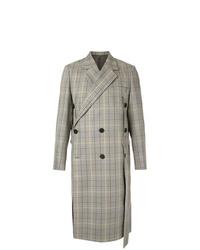 Серое длинное пальто в шотландскую клетку от Wooyoungmi
