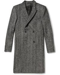 """Серое длинное пальто с узором """"в ёлочку"""""""