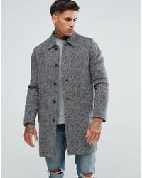 """Мужское серое длинное пальто с узором """"в ёлочку"""" от Asos"""