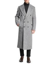 """Мужское серое длинное пальто с узором """"в ёлочку"""" от Michael Kors"""