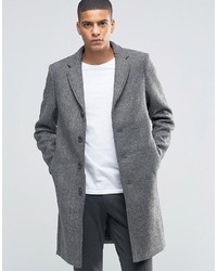 """Мужское серое длинное пальто с узором """"в ёлочку"""" от Selected"""