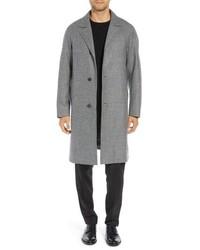 """Серое длинное пальто с узором """"гусиные лапки"""""""