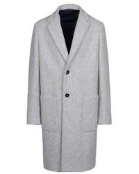 Серое длинное пальто