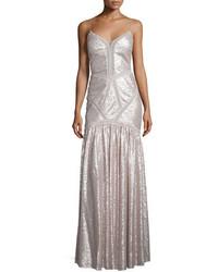 Серое кружевное вечернее платье