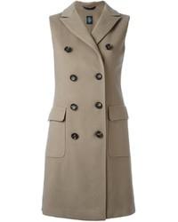 Женское серое пальто без рукавов от Eleventy