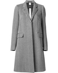 """Серое пальто с узором """"в ёлочку"""""""