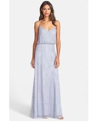 Серое платье-макси из бисера