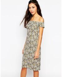 Серое платье-миди с цветочным принтом