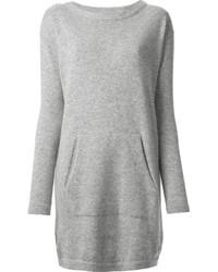 Серое платье-свитер