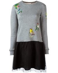 Женское серое платье-свитер от RED Valentino