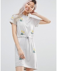 Женское серое повседневное платье с вышивкой от Daisy Street