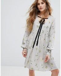 Женское серое повседневное платье с цветочным принтом