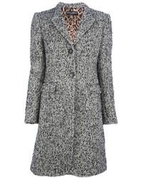 Серое твидовое пальто