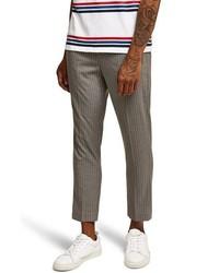 Серые брюки чинос в вертикальную полоску