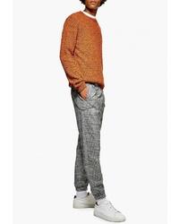 Серые брюки чинос в шотландскую клетку от Topman