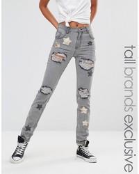 Женские серые джинсы скинни со звездами