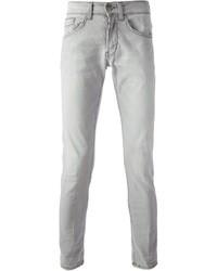 Серые зауженные джинсы